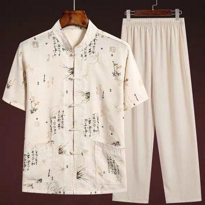 夏季中老年人宽松汉服唐装男休闲短袖爸爸套装中国风爷爷装上衣服