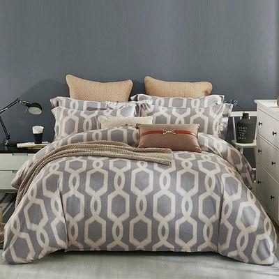 小绵羊加厚磨毛四件套印花美式被套家用单人双人床单套件床上用品