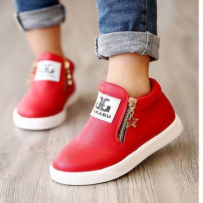 2019春秋韩版男女童皮鞋靴子儿童休闲运动鞋双拉链马丁靴儿童短靴