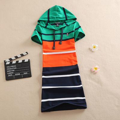 20夏季韩版小熊连帽连衣裙女休闲宽松条纹显瘦中长款T恤A字裙