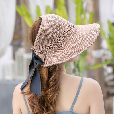 太阳帽女空顶帽卷卷遮阳帽大帽檐防晒帽子草帽夏季凉帽时尚渔夫帽