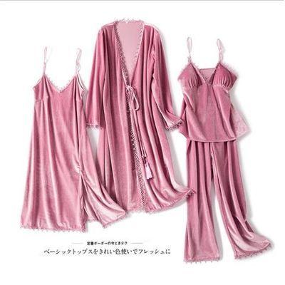 睡衣女性感四件套秋冬长袖金丝绒吊带睡裙带胸垫睡袍四件套家居服