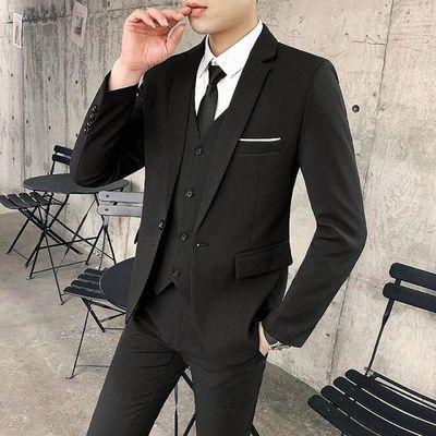 西服套装男韩版修身西装三件套青年休闲商务结婚礼服伴郎职业正装