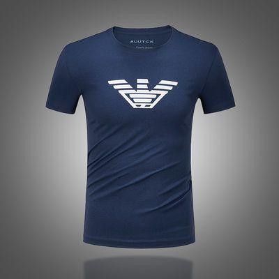 欧洲站男装欧美潮牌短袖t恤新款圆领修身精神小伙大码印花打底衫