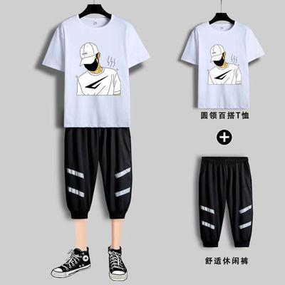 上衣/套装夏季运动套装男士青少年学生潮流休闲服短袖t恤七分短裤