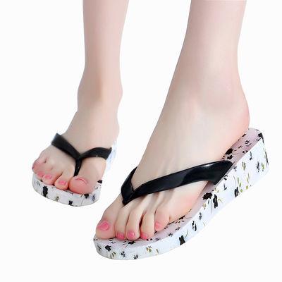 女式凉拖鞋外穿高跟防滑拖鞋夏季厚底女士拖鞋沙滩人字拖鞋女新款