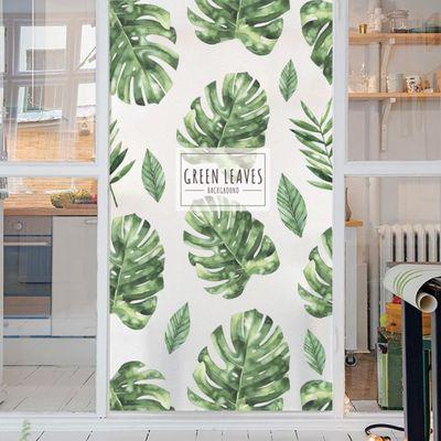 白磨砂无胶静电可重复玻璃贴膜北欧植物卫生间浴室移门窗户贴纸