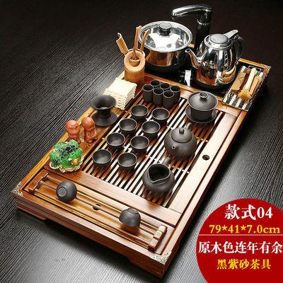 整套乌金石茶盘功夫茶具套装家用四合一体电磁炉简约实木陶瓷茶台