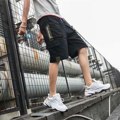 夏季工装短裤男港风2020新款纯棉刺绣潮流宽松休闲百搭五分裤子