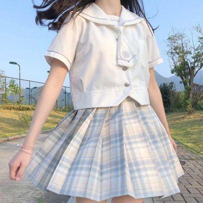 现货多色【jk】夏季新款jk制服日系学生格子裙女百褶裙套学院JK衬