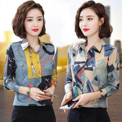衬衫女长袖2020春夏装新款韩版印花衬衣女短袖雪纺衫妈妈显瘦