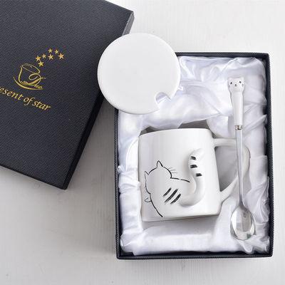 可爱猫咪马克杯卡通陶瓷杯子情侣男女水杯咖啡杯带盖勺早餐牛奶杯