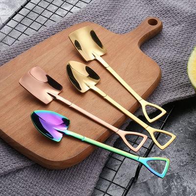 【两支装】304不锈钢铁锹咖啡勺子家用甜品西瓜专用调羹铲子汤匙