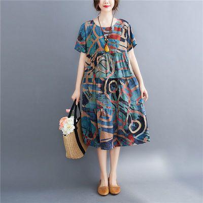 2020夏季新款复古文艺大码女装印花圆领宽松棉质短袖中长款连衣裙
