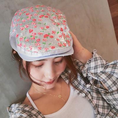 帽子女秋冬彩色亮片女士贝雷帽韩版菱形七彩鸭舌帽女式帽潮春季女