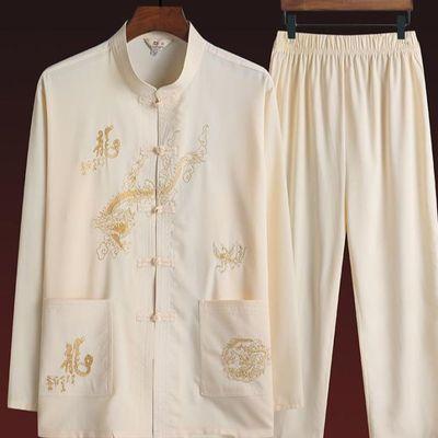 老人唐装男长袖套装春季中老年人中国风爸爸唐服爷爷薄款复古男装
