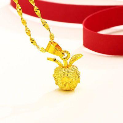 苹果黄金色吊坠网红百搭转运珠沙金锁骨链不掉色正品镀金项链首饰