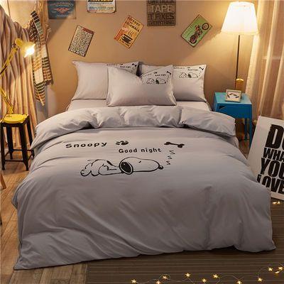 床上四件套纯色床单床笠床裙四件套仿全纯棉三件套单双人加厚被套