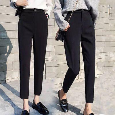 【优质雪纺】西装裤女九分春夏学生韩版高腰宽松萝卜休闲黑色哈伦