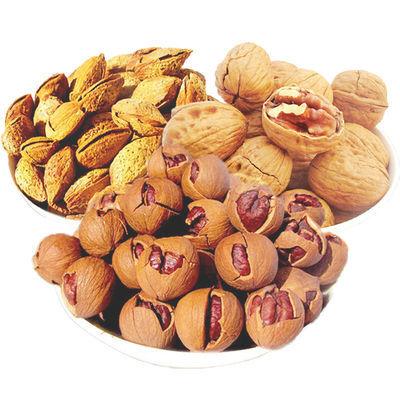 手剥奶油味山核桃巴旦木薄壳核桃三种坚果每种218g×2份 一起1308g