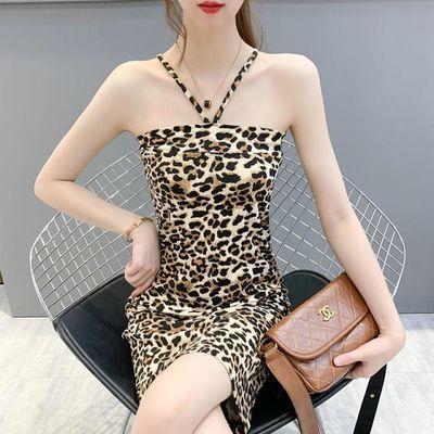 夏季新款性感时尚吊带抹胸修身百搭豹纹女连衣裙夜场性感打底裙
