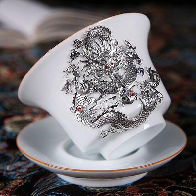明朝永乐皇帝甜白盖碗 镶银白瓷盖碗单个不烫手景德镇 三才泡茶杯