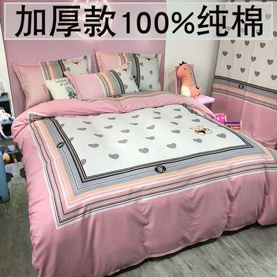 全棉磨毛加厚四件套纯棉床上用品秋冬裸睡被套儿童卡通床单三件套