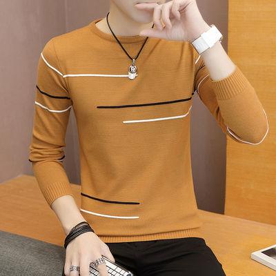 男士毛衣春秋季韩版修身薄款圆领套头毛线衣男学生针织打底衫上衣