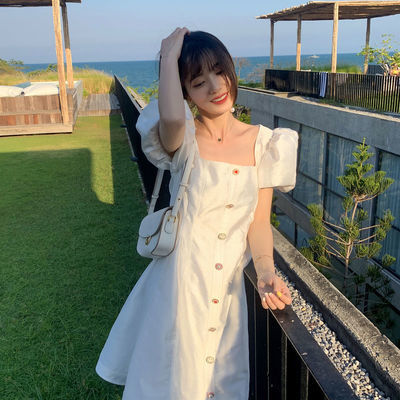 2020夏季新款韩版显瘦大码洋气方领连衣裙中长款超仙气质款