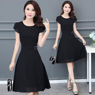 【莱瑞丽】大码女装连衣裙夏季新款短袖妈妈装加大胖mm修身雪纺裙