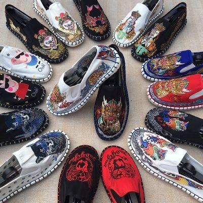 -老北京一脚蹬布鞋男中国风社会人色鬼脸谱刺绣花西山手工布鞋子