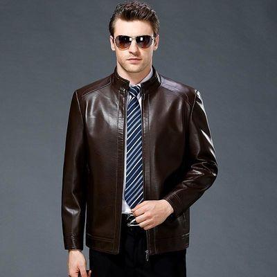 爸爸皮衣男中年春秋皮夹克男士薄款秋装外套中老年真皮上衣