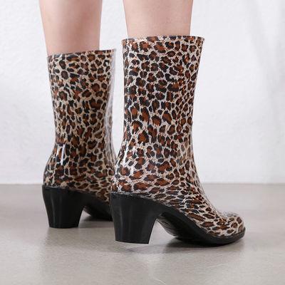 包邮中筒雨鞋劳保清洁黑粉点加厚高跟水鞋雨靴套鞋女士防滑811