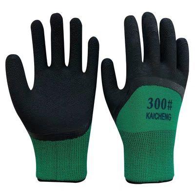 正品24双发泡手套劳保耐磨批发男女建筑工地防滑透气橡胶乳胶5双