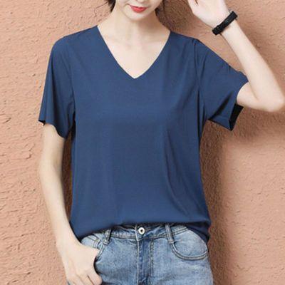 2020新款冰丝短袖T恤春夏季纯色女薄款潮V领韩版宽松显瘦上衣