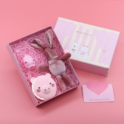 情人节保暖神器暖手宝USB充电款便携可爱卡通小猪LED灯化妆镜迷你