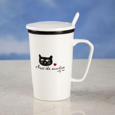 创意陶瓷杯子带盖带勺茶杯简约杯猫咪情侣对杯大容量咖啡牛奶水杯