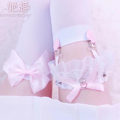 少女桃心可爱性感白色蕾丝格子蝴蝶结朋克铆钉吊袜带腿环腿圈软妹