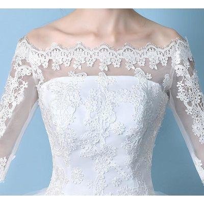 一字肩婚纱礼服2018新款韩式新娘结婚长袖蕾丝齐地显瘦大码婚纱夏