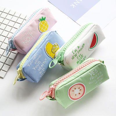 大班长帆布男女学生水果大拉链笔袋铅笔盒大容量多功能桌面文件袋