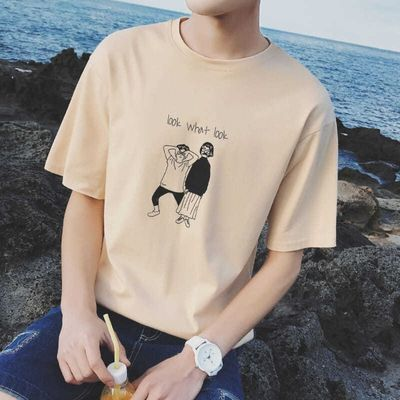 2020夏季新款港风t恤男短袖韩版潮流学生个性百搭宽松半袖衣服男