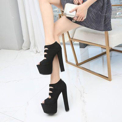 17公分舞台走秀鞋超高跟粗跟凉鞋恨天高后拉链黑色高跟鞋女夏