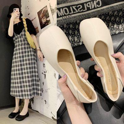 平底单鞋女士2020夏季网红百搭女学生豆豆鞋软底防滑懒人鞋一脚蹬