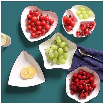 桃心型绿陶瓷水果沙拉碗创意菜品摆盘可爱牛排餐盘家用北欧风碗碟