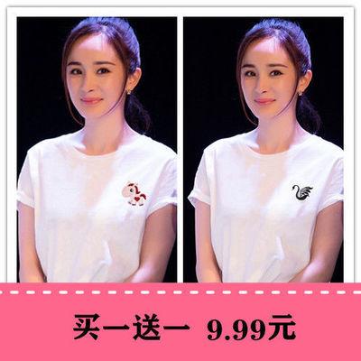 买一送一两件装网红闺蜜女士短袖白色t恤女ins上衣学生潮韩版刺绣