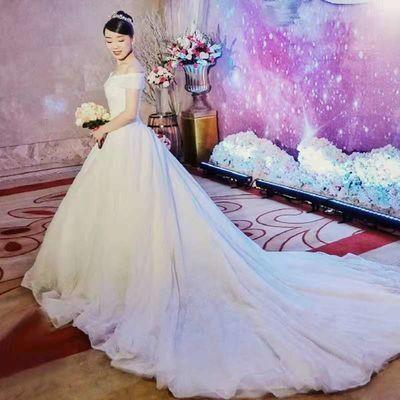 轻主婚纱礼服2019新款新娘结婚拖尾奢华森系显瘦简约一字肩齐地女