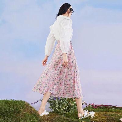 商场同款 鸟家粉色碎花半身裙女2020新款绑带高腰长裙女A8GFA2707