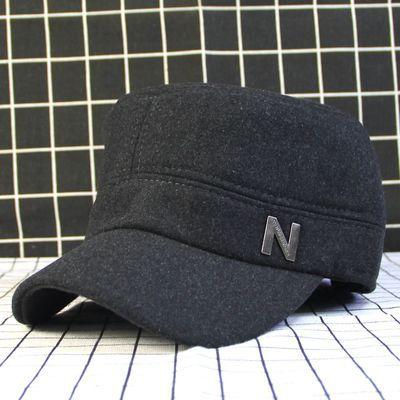 中老年帽子男冬毛呢护耳棒球帽冬季老头保暖鸭舌帽冬天爷爷老人帽