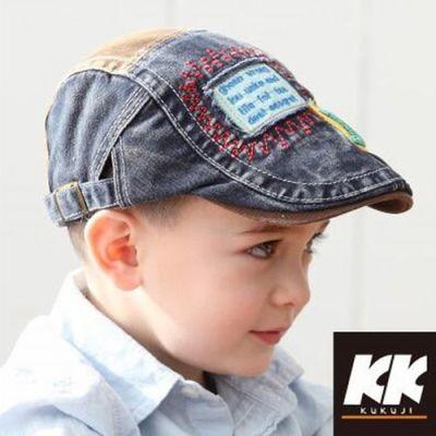 儿童贝雷帽春秋男童帅气潮帽新款宝宝英伦刺绣鸭舌帽子小孩牛仔帽