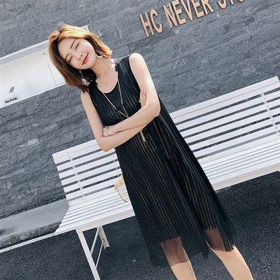 无袖连衣裙女2020夏装新款圆领时尚瑞丽中长款网纱拼接打底裙裙子